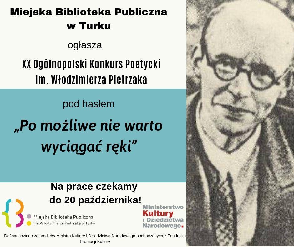 Czytaj więcej o: XX Ogólnopolski Konkurs Poetycki im. Włodzimierza Pietrzaka  – do 20 października czekamy na zgłoszenia!